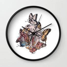 Skull and butterflies Wall Clock