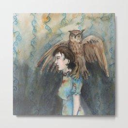 Girl with An Imaginary Owl Metal Print