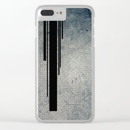 Geometric Grunge Blue - Gray Vertical Black Stripes Polka Dots Illustration Clear iPhone Case