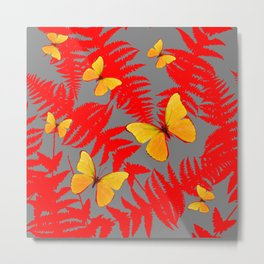 Red Fern Fronds With Yellow Butterflies & Grey Color Metal Print