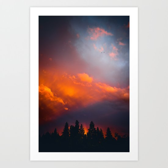 Bend Oregon: sunset & rainbow Art Print