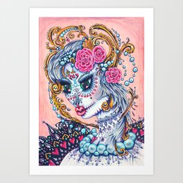 Pink Victorian Queen of Hearts wearing roses in Sugar Skull Make up for Day of the Dead Festival Art Print