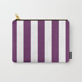 Palatinate purple - solid color - white vertical lines pattern Carry-All Pouch