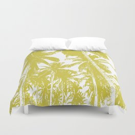 Palm Trees Design in Gold and White Duvet Cover