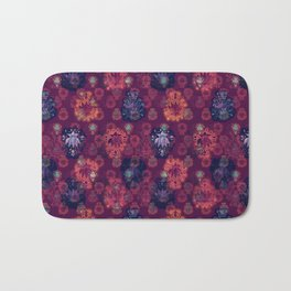 Lotus flower - fire on mulberry woodblock print style pattern Bath Mat