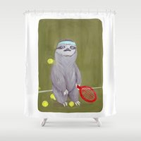 """sloths Shower Curtains featuring Sloths Are Bad At Things- Kevin the Tennis Star by Megan """"Tillette"""" Jones"""