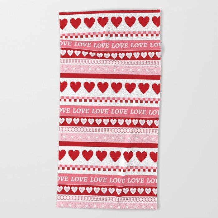 Valentine's Day - Love Pattern Beach Towel