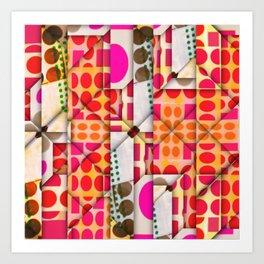 number 245  orange red pink pattern Art Print