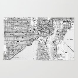 Vintage Map of Tampa Florida (1944) BW Rug