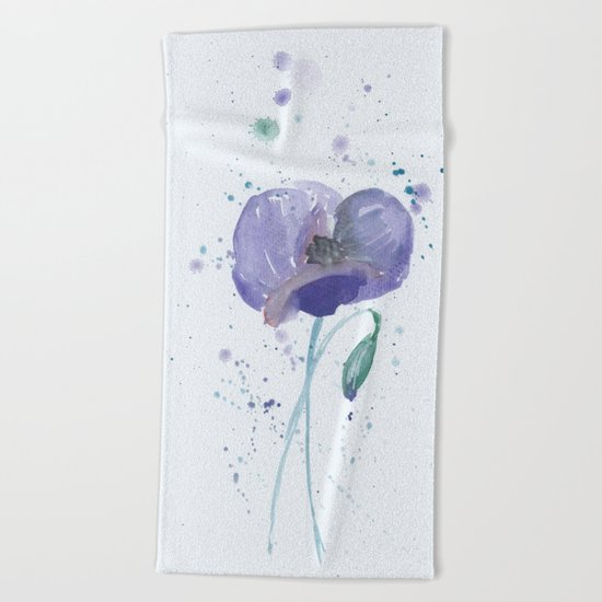 Blue Poppy flower illustration painting in watercolor Beach Towel