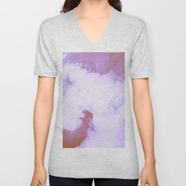 DREAMY PINK AND WHITE RAINBOW CLOUDS Unisex V-Neck