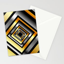 Composition with metallic squares-metal texture with illusion effectComposition with metallic square Stationery Cards