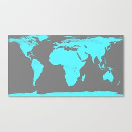 World Map Gray & Turquoise Canvas Print