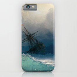 Ship on Stormy Seas, Seascape, Fine Art Print iPhone Case