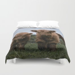 Scottish Highland Cattle Calves - Babies playing II Duvet Cover