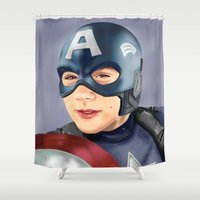 stiles stilinski Shower Curtains featuring Captain Dylan by Finduilas
