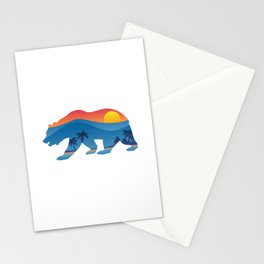 California bear with superimposed mountains and beach shoreline Stationery Cards