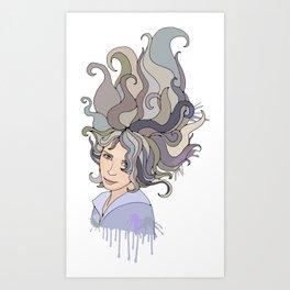 Grey-long-hair portrai of a girl Art Print