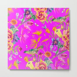Bold Summer Print on Magenta Pink Metal Print