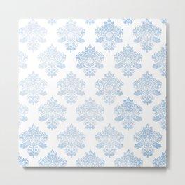 Damask Powder Blue Frost Sensations Metal Print