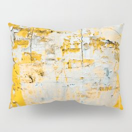 Old grunge yellow texture on the wall. Limestone texture wall. Rustic background Pillow Sham