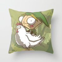 invader zim Throw Pillows featuring Invader Link by Legendary Phoenix