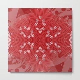 Red stripes on grunge pink mandala Metal Print