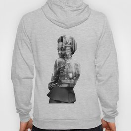 Double Exposure of woman and New York Hoody