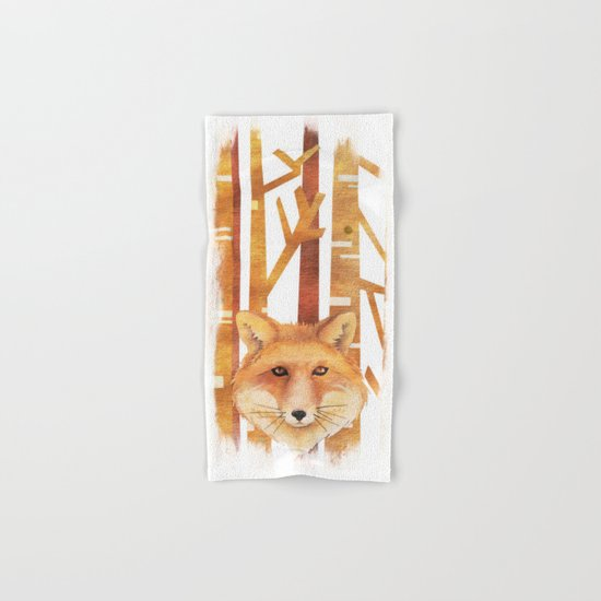 Fox in the forest- abstract watercolor illustration Hand & Bath Towel