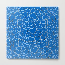 Hearts - Blue Metal Print