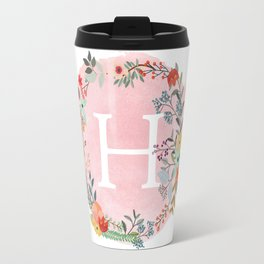 Flower Wreath with Personalized Monogram Initial Letter H on Pink Watercolor Paper Texture Artwork Travel Mug