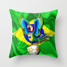 Brazil Macaw Parrot with Soccer Ball Throw Pillow