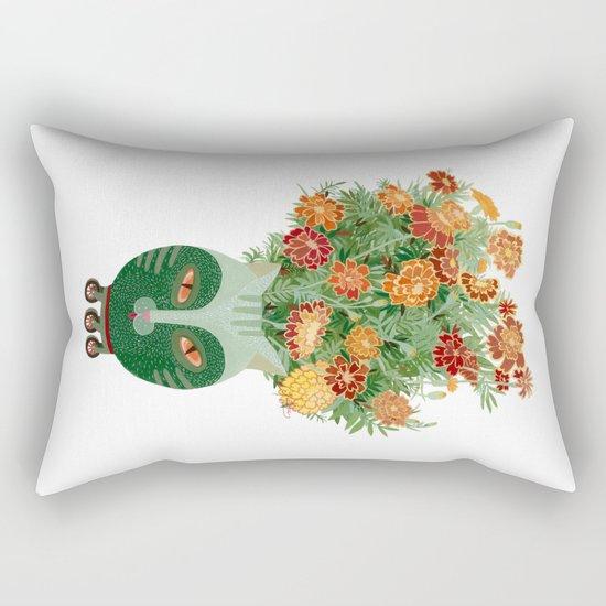 Marigolds in cat face vase  Rectangular Pillow