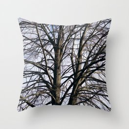 Stained Glass Tree Throw Pillow