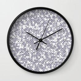 Lilac Gray Pixels Wall Clock