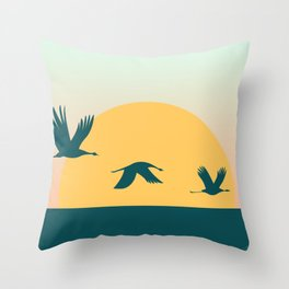 Cranes in the Sky Throw Pillow