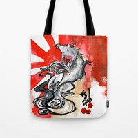 okami Tote Bags featuring OKAMI by Rubis Firenos