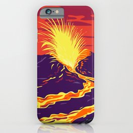 Hawaii Volcanoes National Park with active KIlauea volcano United States WPA Poster Art Color iPhone Case