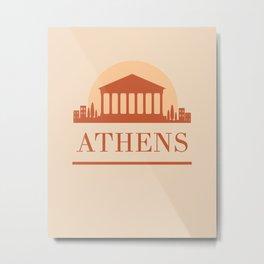 ATHENS GREECE CITY SKYLINE EARTH TONES Metal Print