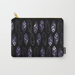 Purple Feathers and Gems on Black Pattern Carry-All Pouch