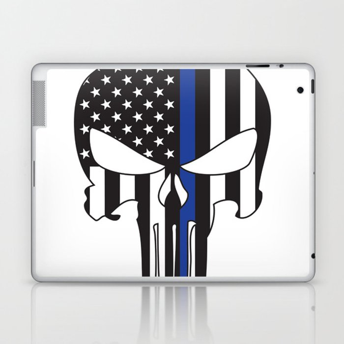 51bcb90cc9afd Punisher Skull American Flag Thin Blue Line Laptop   iPad Skin by ...