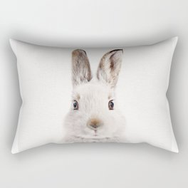 White Bunny, Baby Animals Art Print By Synplus Rectangular Pillow