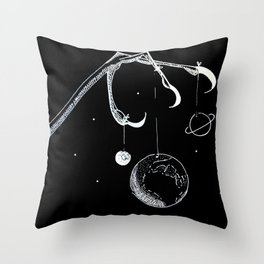 Queen of the Planets - White Ink Throw Pillow
