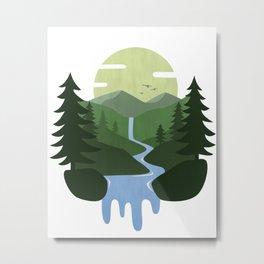 Forest Waterfall Landscape Metal Print