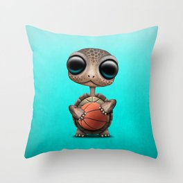 Cute Baby Turtle Playing With Basketball Throw Pillow