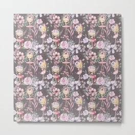 Decorative background with bouquet of ballerinas and flowers Metal Print