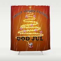 card Shower Curtains featuring Christmas card by mark ashkenazi