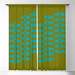 abstract eyes pattern aqua olive Blackout Curtain