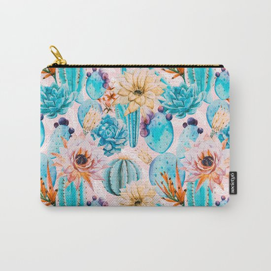 Cactus and flowers pattern Carry-All Pouch