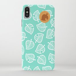 animal crossing villager nook shirt pattern white leaf iPhone Case